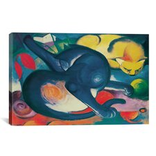 'Two Cats (Blue and Yellow)' by Franz Marc Painting Print on Canvas