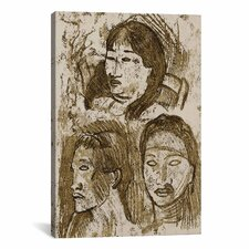 'Trois Tetes Tahitiennes' by Paul Gauguin Painting Print on Wrapped Canvas