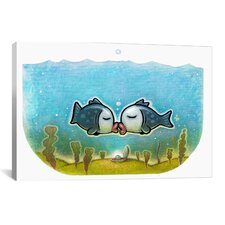 'Kissy Fish' by Daniel Peacock Graphic Art on Wrapped Canvas