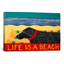 Life Is a Beach Black Print Art on Canvas