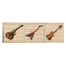 Music Instrument Panoramic Graphic Art on Wrapped Canvas