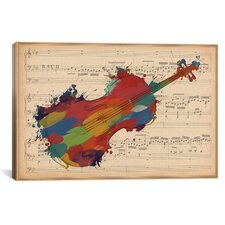 Music Instrument Multi-Color Cello on Music Sheet #2 Graphic Art on Wrapped Canvas