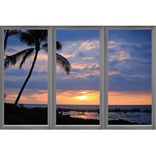 Windows of the World Beach Sunset Window View Canvas Print Wall Art