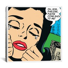 Come Back to Me Comic Book by Roy Lichtenstein Graphic Art on Canvas in Black