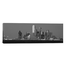 Panoramic Dallas Skyline Cityscape (Night) Photographic Print on Canvas in Black / White