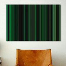 Striped Art Dark Matrix Green Graphic Art on Canvas