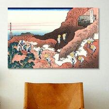 'Climbing on Mt. Fuji' by Katsushika Hokusai Painting Print on Canvas