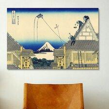 'Mitsui Shop on Suruga Street in Edo' by Katsushika Hokusai Painting Print on Canvas