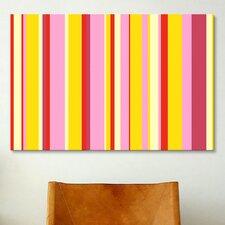 Striped Art Fruity Ice Cream Desert Graphic Art on Canvas