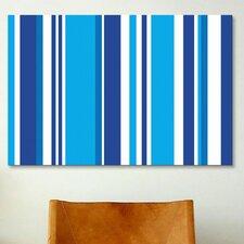 Striped Art Cobalt Baby Blue Graphic Art on Canvas