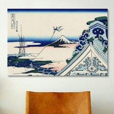 'Asakusa Honganji Temple in the Eastern Capital' by Katsushika Hokusai Painting Print on Canvas