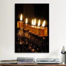 Jewish Menorah Photographic Print on Canvas