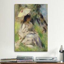'Jeune Femme A L'ombrelle 1872' by Pierre-Auguste Renoir Painting Print on Canvas