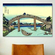 'Fuji Seen Through The Mannen Bridge at Fukagawa' by Katsushika Hokusai Painting Print on Canvas