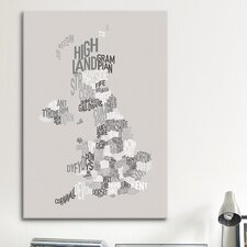 'Great Britain County Text Map' by Michael Tompsett Textual Art on Canvas