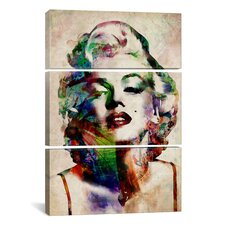 Michael Thompsett Watercolor Marilyn Monroe 3 Piece on Wrapped Canvas Set