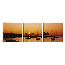 Photography Sailboats in Lake Michigan, Chicago 3 Piece on Wrapped Canvas Set