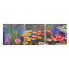 Water Lilies 3 Piece by Claude Monet Painting Print on Wrapped Canvas Set