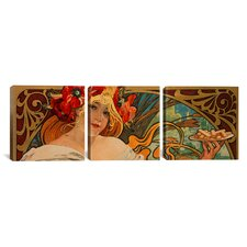 Alphonse Mucha Biscuits Lefevre Utile 3 Piece on Wrapped Canvas Set