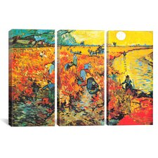Vincent van Gogh The Red Vineyard At Arles 3 Piece Painting Print on Wrapped Canvas Set