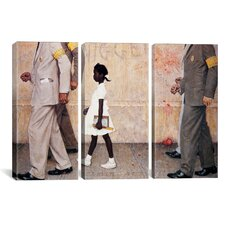 The Problem We All Live With (Ruby Bridges) by Norman Rockwell 3 Piece Painting Print on Wrapped Canvas Set
