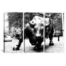 Political Wall Street Bull 3 Piece Photographic Print on Wrapped Canvas Set in Black and White