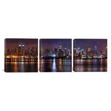Panoramic Photography New York Skyline Cityscape (Night) 3 Piece on Wrapped Canvas Set