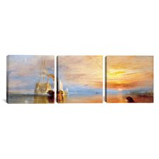 Fighting Temeraire by J.M.W Turner 3 Piece Painting Print on Wrapped Canvas Set