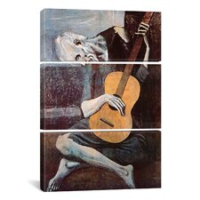 The Old Guitarist by Pablo Picasso 3 Piece Painting Print on Wrapped Canvas Set