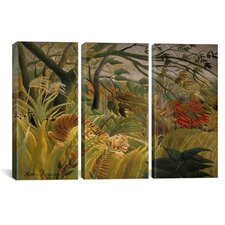 Henri Rousseau Tiger in a Tropical Storm (Surprised) 3 Piece on Wrapped Canvas Set