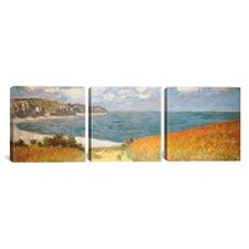 Path Through The Corn At Pourville by Claude Monet 3 Piece Painting Print on Wrapped Canvas Set
