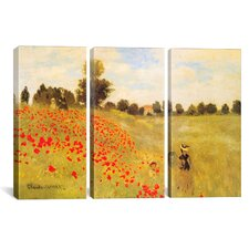 Field of Poppies by Claude Monet 3 Piece Painting Print on Wrapped Canvas Set