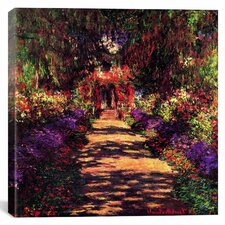 """""""Pathway in Garden at Giverny"""" by Claude Monet Painting Print on Canvas"""