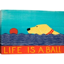 Life Is A Ball by Stephen Huneck Graphic Art on Canvas in Blue; Red and Yellow