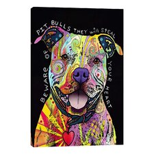 """Beware of Pit Bulls"" by Dean Russo Graphic Art on Wrapped Canvas"
