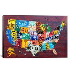 "Decorative Art ""License Plate Map USA"" by David Bowman Graphic Art on Canvas"