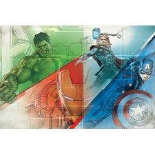 Marvel Comics Hulk, Thor, Iron Man and Captain America, Collage Movie Graphic Art on Canvas