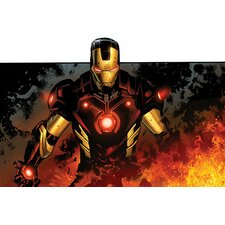 Marvel Comics Iron Man In Flames Graphic Art on Canvas