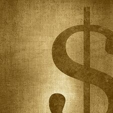 Dollar Sign Shimmer Textual Art on Canvas in Gold