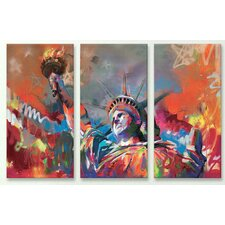 'Statue of Liberty' by Scott Naismith 3 Piece Painting Print on Canvas Set