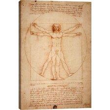 'Vitruvian Man 1492' by Leonardo Da Vinci Graphic Art on Canvas