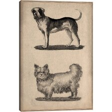 Animal Art Vintage French Dogs Painting Print on Wrapped Canvas