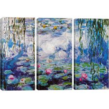 Nympheas by Claude Monet 3 Piece Painting Print on Wrapped Canvas Set