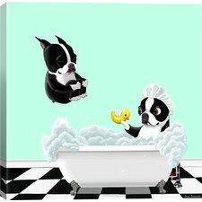 """Bath Tub BT"" by Brian Rubenacker Graphic Art on Wrapped Canvas"