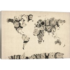 'Map of the World Map fromOld Clocks' by Michael Tompsett Graphic Art on Canvas
