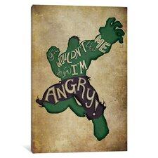 'Avengers Assemble Hulk Vintage' by Marvel Comics Textual Art on Wrapped Canvas