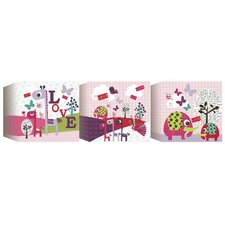 3 Piece Animal Sanctuary Blocks Canvas Art Set