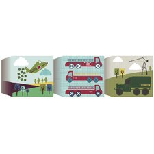 3 Piece Transportation Blocks Canvas Art Set
