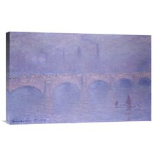 'Waterloo Bridge, Misty Sunshine' by Claude Monet Painting Print on Canvas