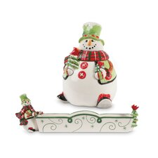 Holly Hat Snowman 2-Piece Cracker Cradle and Candy Jar Set